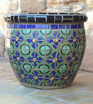 Green Dot Mosaic Pot