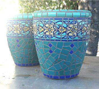 Lapis Lazuli Mosaic Planters