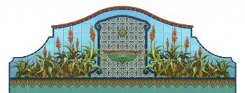 """Aloe Mural used as a wall fountain with 6x6"""" Imperial deco trimmed basin"""