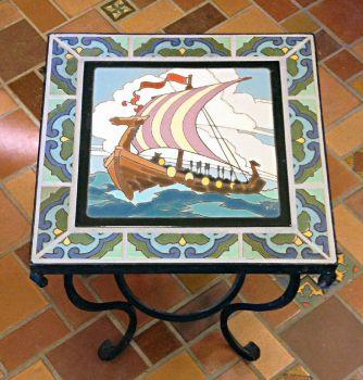 "Viking Mural Table 16 x 16 x 19"""