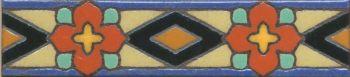 "1.8x8"" Park Ave Liner deco gloss-Orange tile pattern"