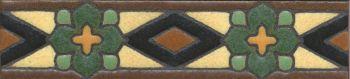 "1.8x8"" Park Ave Liner deco satin-Green tile pattern"