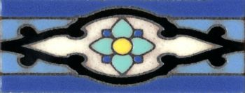 "2.3x6"" Shiraz Liner deco gloss-Blue tile pattern"