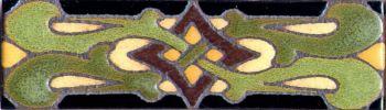 """2.3x8"""" Vine Weave Liner deco satin-Green tile pattern"""