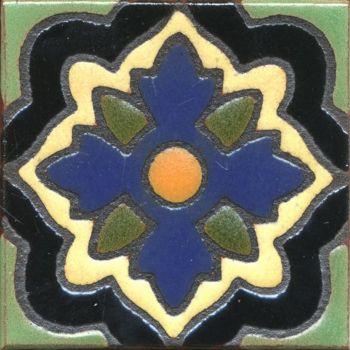 "3.6x3.6"" Aster Dot deco combo-Blue tile"