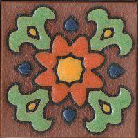 "3.6x3.6"" Bloom Dot deco satin-Orange TerraCotta tile"