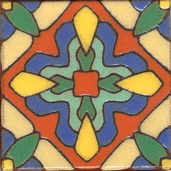 """3.6x3.6"""" Blossom Dot deco gloss-Cream tile"""