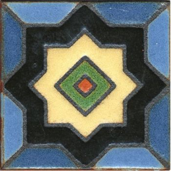 """3.6x3.6"""" Boxwood Dot deco satin-Blue tile"""