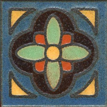 "3.6x3.6"" Daisy Dot deco satin-Brown tile"