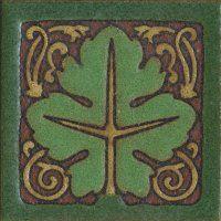 """3.6x3.6"""" Leaf Dot deco satin-BluGreen tile"""