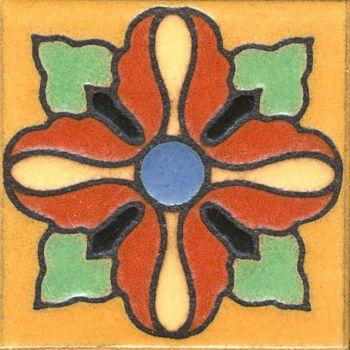 "3.6x3.6"" Lily Dot deco satin-Yellow tile"