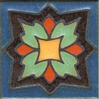 """3.6x3.6"""" Peony Dot deco satin-Brown tile"""