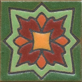 "3.6x3.6"" Peony Dot deco satin-Burgundy tile"