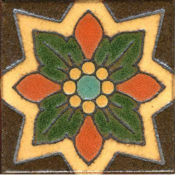 "3.6x3.6"" Sage dot deco satin-Brown tile"
