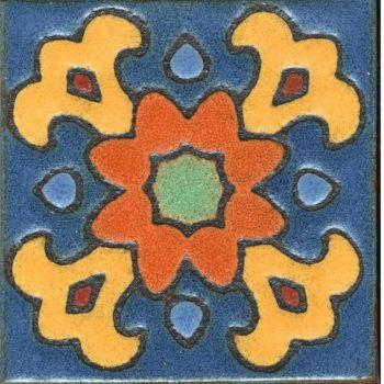 """3.6 x 3.6"""" Bloom Dot deco satin-Orange tile"""