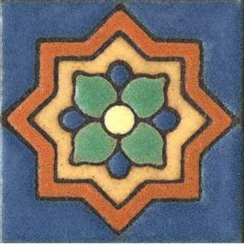 "3x3"" Clover Dot deco satin-Blue tile"