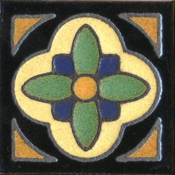 "3x3"" Daisy Dot deco combo-Black tile"