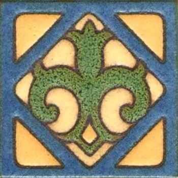 """3x3"""" Fleur Dot deco satin-Blue tile"""