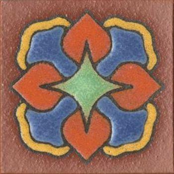 "3x3"" Iris Dot deco satin-TerraCotta tile"
