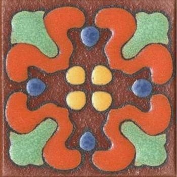"""3x3"""" Orchid Dot deco satin-TerraCotta tile"""
