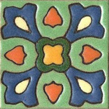 "3x3"" Pansy Dot deco satin-Green tile"