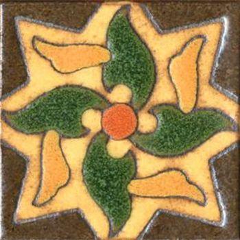 "3x3"" Pinwheel Dot deco satin-Brown tile"
