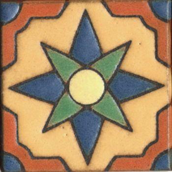 "3x3"" Star Dot deco satin-Cream tile"