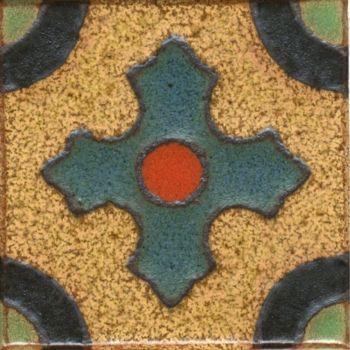 "3x3"" Crest Dot deco satin-Gold tile"