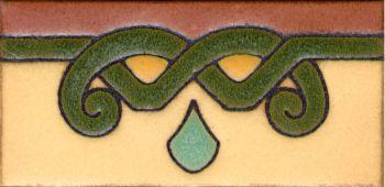 "3x6"" Lyra Liner deco satin-Cream tile pattern"