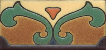 "3x6"" Saracen Liner deco satin-Peach tile pattern"
