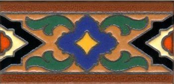 "3x6"" Vanna Liner deco combo-Ochre tile pattern"