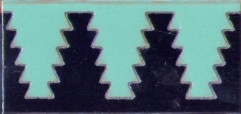 3 by 6 inch Zig Liner deco gloss-Turquoise tile