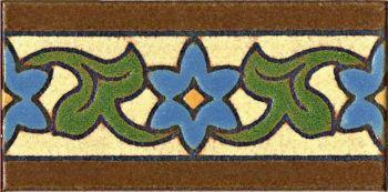 "3x6"" Robbia Liner deco satin-Blue tile pattern"