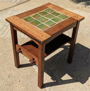 Rusty Green Field tiles set into Quarter Sawn Oak Table