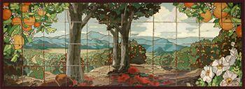 "Orange Grove with Oaks Mural  66x24"" tile"