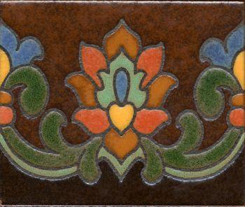 "5x6"" Riviera Riser deco satin-Brown tile"