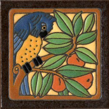 """6x6"""" Parrot Blue left deco satin-Classic tile"""
