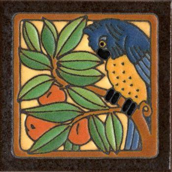 """6x6"""" Parrot Blue right deco satin-Classic tile"""
