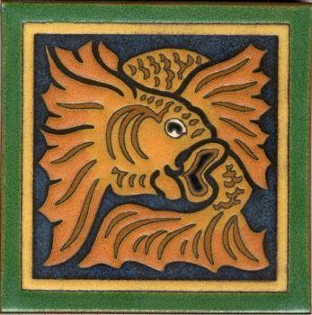 "6x6"" Fish Fantasy deco combo-Green tile"