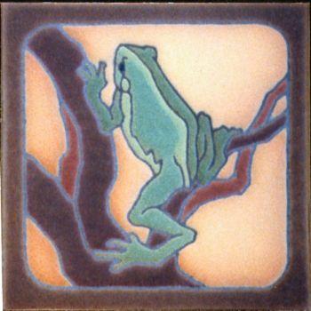 "6x6"" Frog Climbing right deco satin-Classic tile"