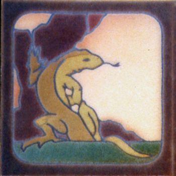 "6x6"" Lizard Sitting left deco satin-Classic tile"