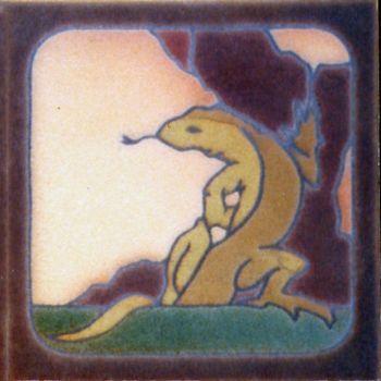 "6x6"" Lizard Sitting right deco satin-Classic tile"