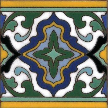 "Presidio Ornate Full deco gloss- White 6x6"" tile pattern"