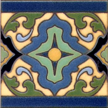 "Presidio Full deco satin-Cream 6x6"" tile pattern"