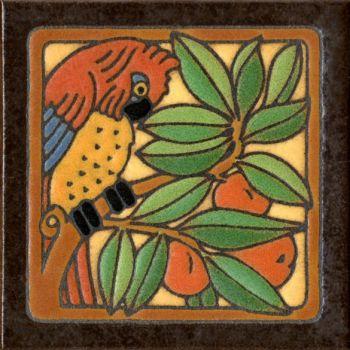 """6x6"""" Parrot Red left deco satin-Classic tile"""