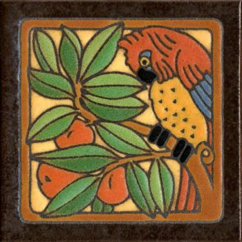 """6x6"""" Parrot Red right deco satin-Classic tile"""
