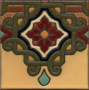 "Rialto deco satin-Burgundy 6x6"" tile pattern"