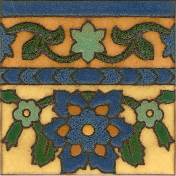 "Robbia deco satin-Blue 6x6""  tile pattern"