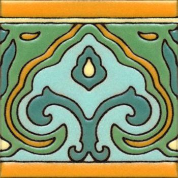 "Saracen Ornate deco satin-Classic 6x6"" tile pattern"