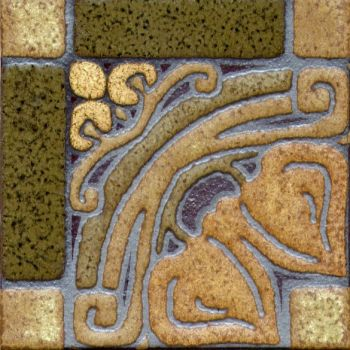 This pattern was inspired by Gothic stone carvings and glazed with an arts and c